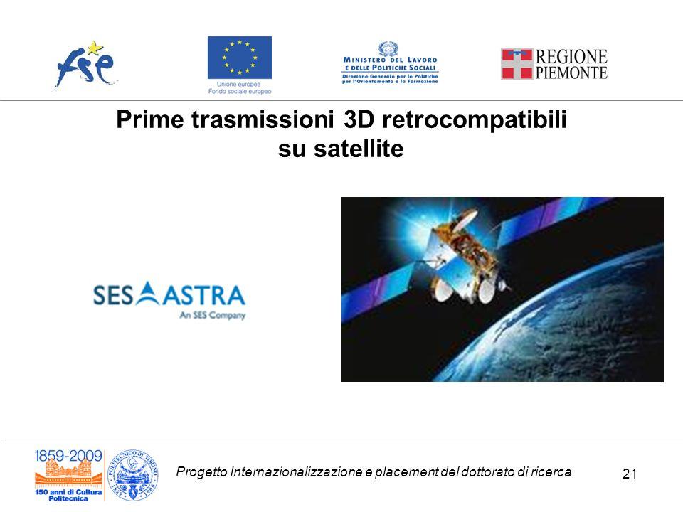 Progetto Internazionalizzazione e placement del dottorato di ricerca 21 Prime trasmissioni 3D retrocompatibili su satellite