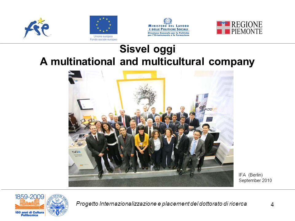 Progetto Internazionalizzazione e placement del dottorato di ricerca 4 Sisvel oggi A multinational and multicultural company IFA (Berlin) September 2010 4