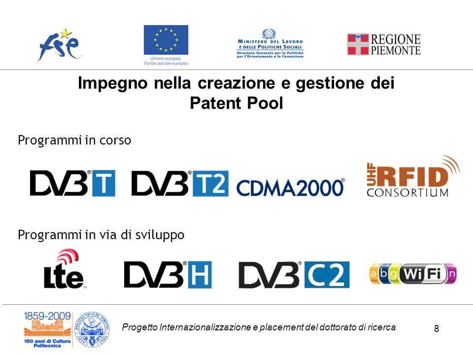 Progetto Internazionalizzazione e placement del dottorato di ricerca 8 Impegno nella creazione e gestione dei Patent Pool Programmi in corso Programmi in via di sviluppo 8