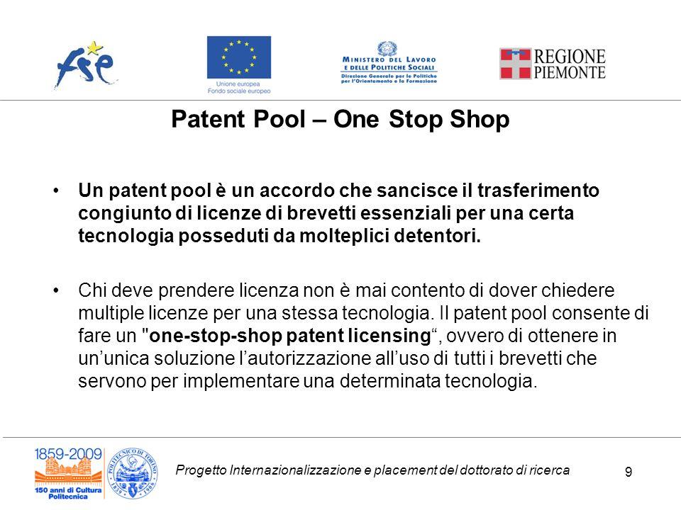 Progetto Internazionalizzazione e placement del dottorato di ricerca 9 Patent Pool – One Stop Shop Un patent pool è un accordo che sancisce il trasferimento congiunto di licenze di brevetti essenziali per una certa tecnologia posseduti da molteplici detentori.