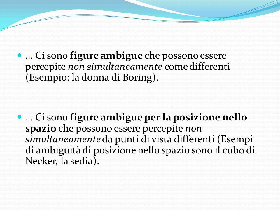 Figure ambigue Si parla di figure ambigue nei casi in cui il sistema percettivo non riesce a decidere tra due configurazioni che possono essere percep