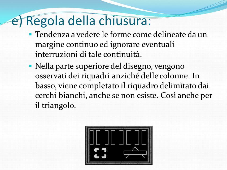 d) Regola della continuità: Tendenza a seguire l'apparenza dell'allineamento generale degli elementi di una figura. Viene osservato un cerchio coperto