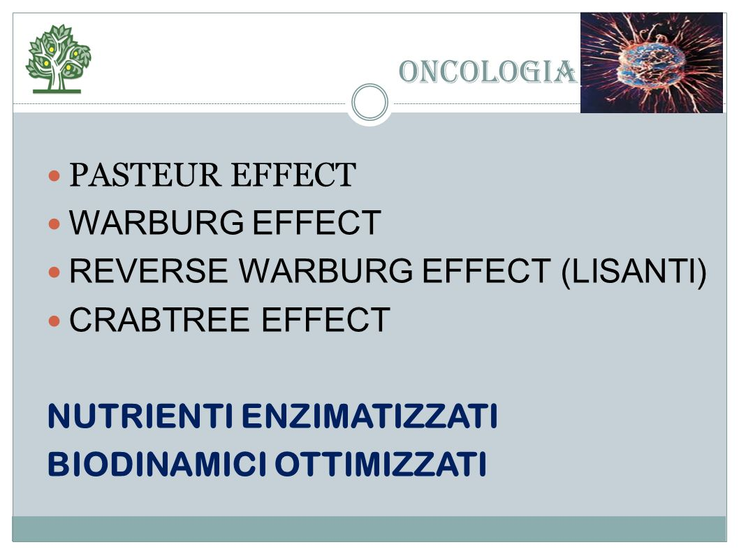 ONCOLOGIA PASTEUR EFFECT WARBURG EFFECT REVERSE WARBURG EFFECT (LISANTI) CRABTREE EFFECT NUTRIENTI ENZIMATIZZATI BIODINAMICI OTTIMIZZATI