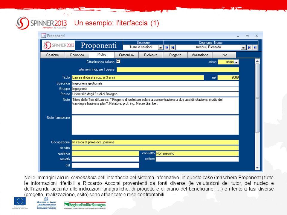 Un esempio: literfaccia (2) Nelle immagini alcuni screenshots dellinterfaccia del sistema informativo.