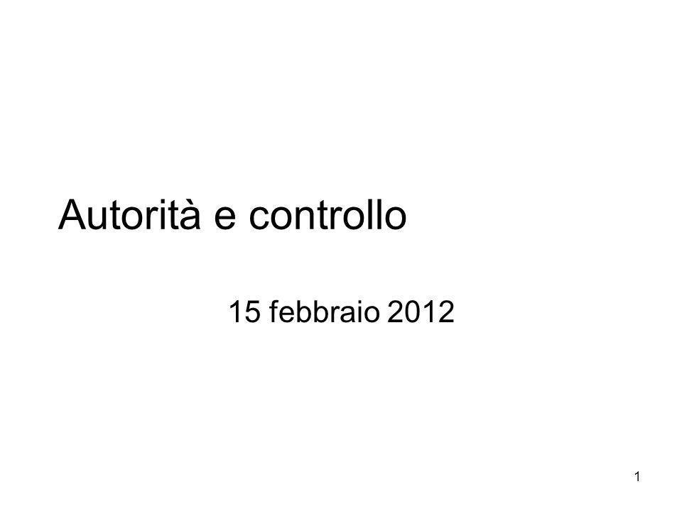 1 Autorità e controllo 15 febbraio 2012