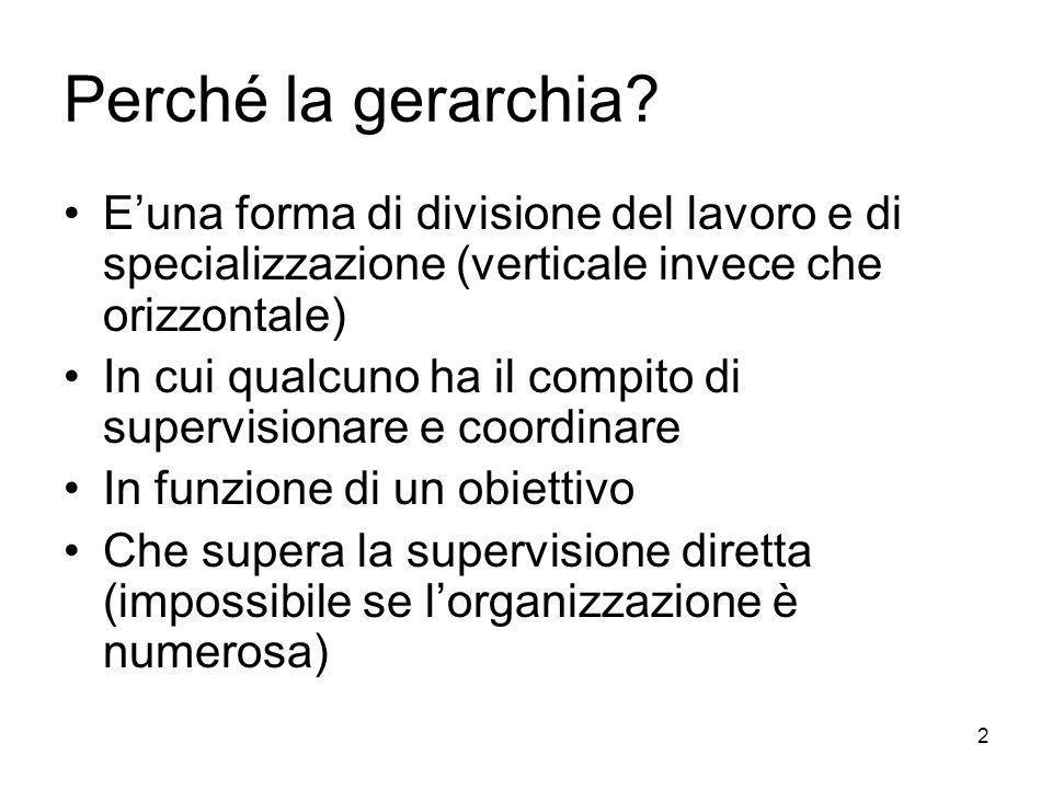 2 Perché la gerarchia? Euna forma di divisione del lavoro e di specializzazione (verticale invece che orizzontale) In cui qualcuno ha il compito di su