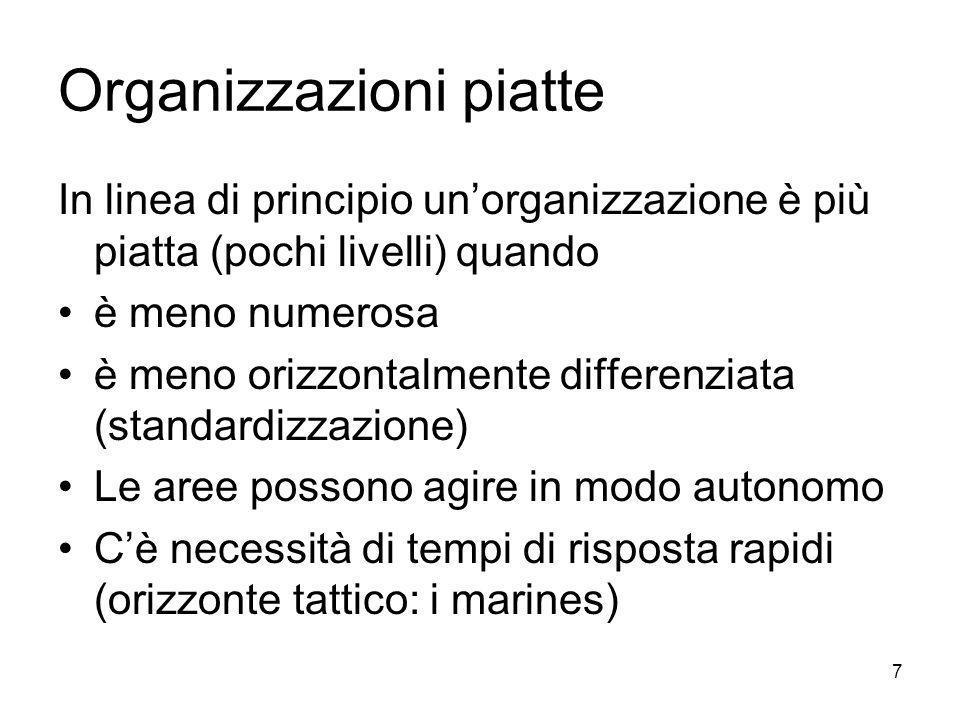 7 Organizzazioni piatte In linea di principio unorganizzazione è più piatta (pochi livelli) quando è meno numerosa è meno orizzontalmente differenziat