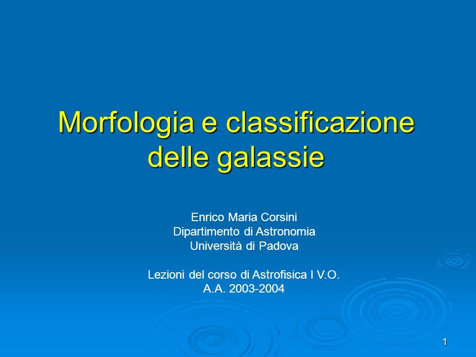 1 Morfologia e classificazione delle galassie Enrico Maria Corsini Dipartimento di Astronomia Università di Padova Lezioni del corso di Astrofisica I