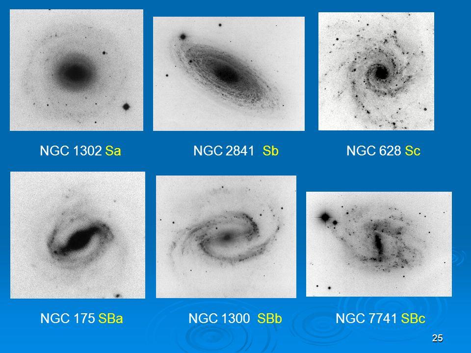 25 NGC 1302 Sa NGC 2841 Sb NGC 628 Sc NGC 175 SBa NGC 1300 SBb NGC 7741 SBc