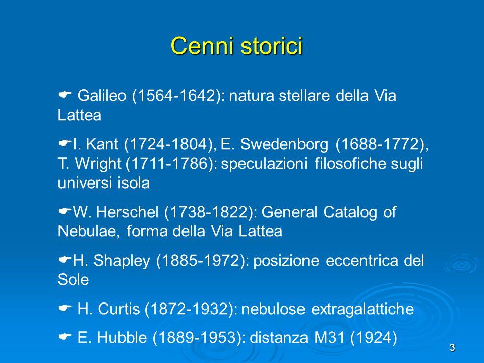 3 Galileo (1564-1642): natura stellare della Via Lattea I. Kant (1724-1804), E. Swedenborg (1688-1772), T. Wright (1711-1786): speculazioni filosofich