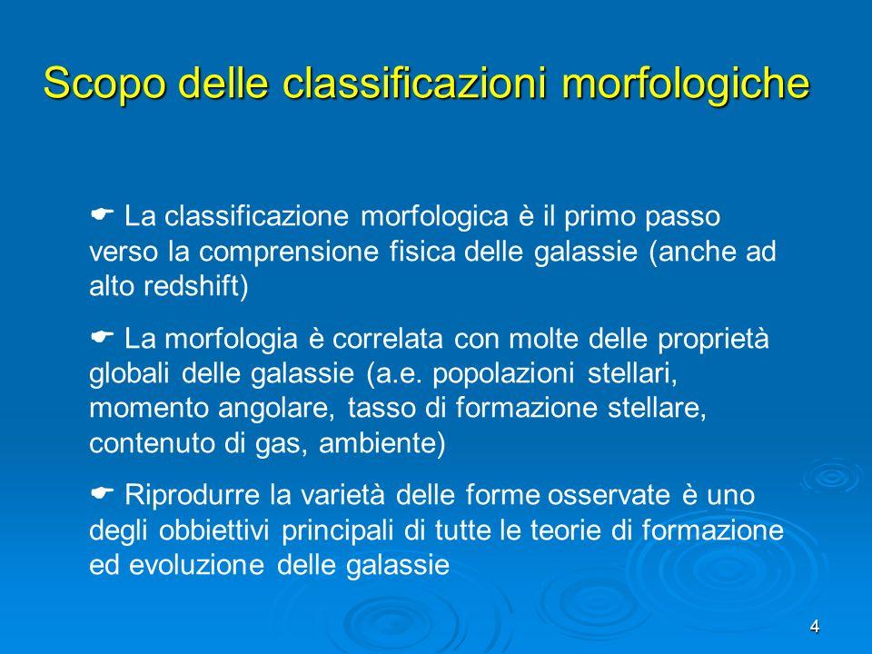 4 La classificazione morfologica è il primo passo verso la comprensione fisica delle galassie (anche ad alto redshift) La morfologia è correlata con m