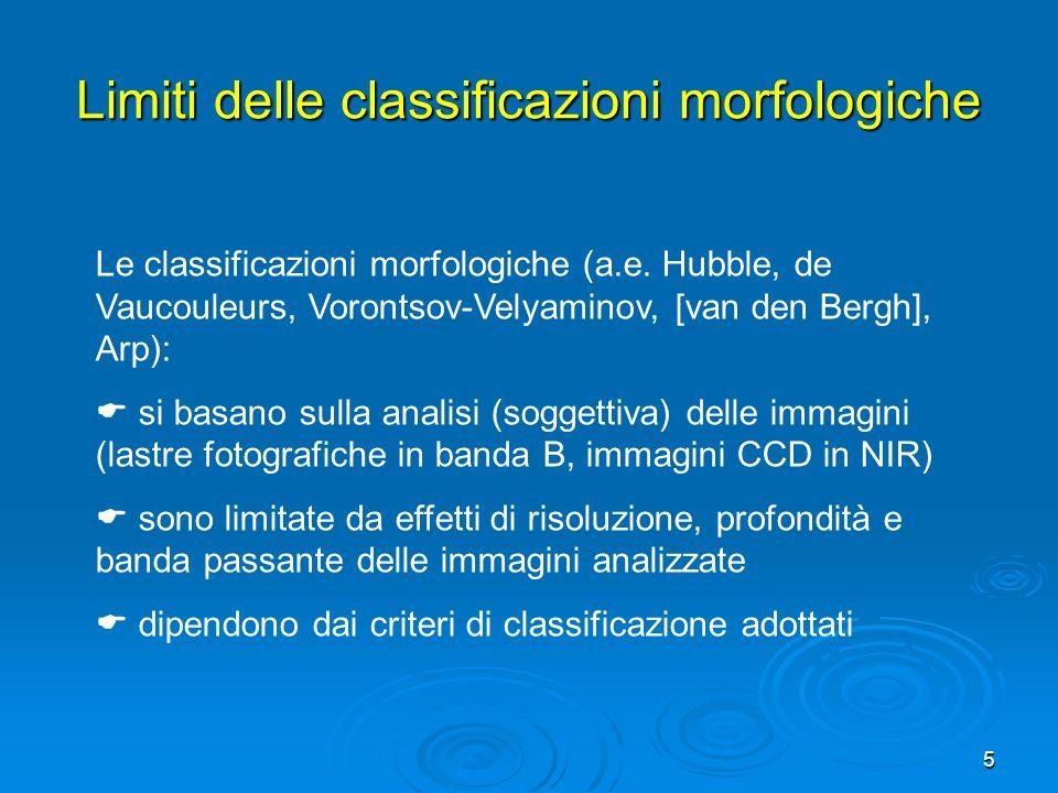 5 Le classificazioni morfologiche (a.e. Hubble, de Vaucouleurs, Vorontsov-Velyaminov, [van den Bergh], Arp): si basano sulla analisi (soggettiva) dell