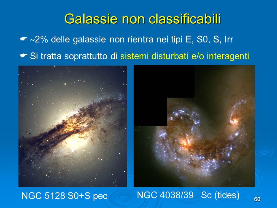 60 Galassie non classificabili 2% delle galassie non rientra nei tipi E, S0, S, Irr Si tratta soprattutto di sistemi disturbati e/o interagenti NGC 51