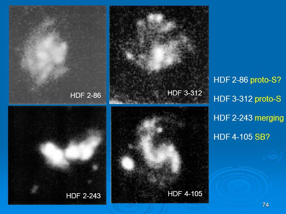 74 HDF 2-86 proto-S? HDF 3-312 proto-S HDF 2-243 merging HDF 4-105 SB? HDF 2-86 HDF 3-312 HDF 2-243 HDF 4-105