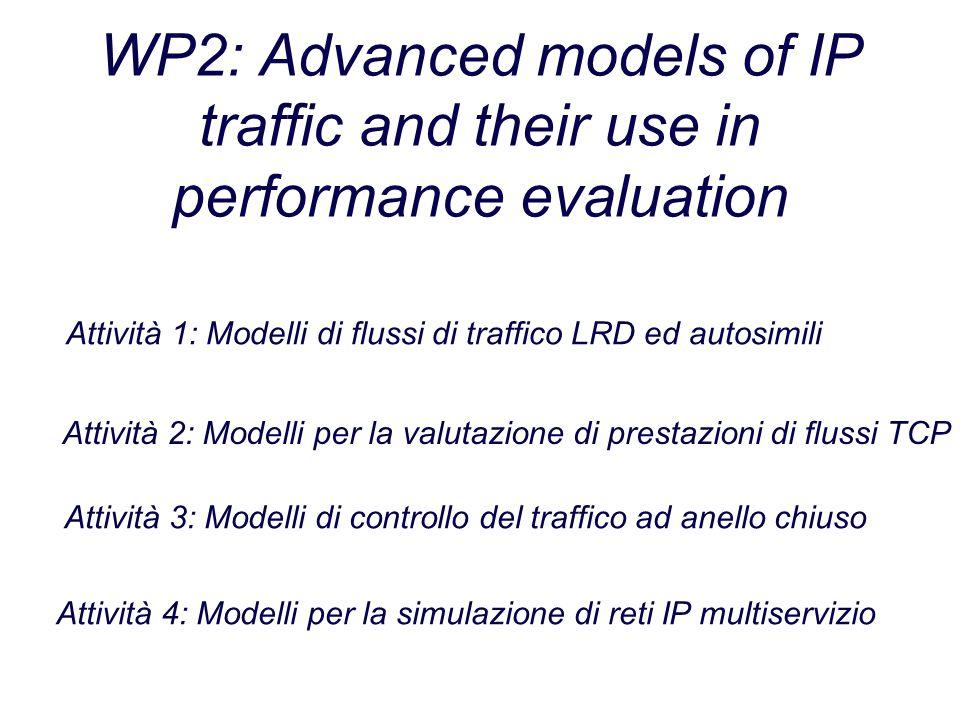 WP2: Advanced models of IP traffic and their use in performance evaluation Attività 1: Modelli di flussi di traffico LRD ed autosimili Attività 2: Modelli per la valutazione di prestazioni di flussi TCP Attività 3: Modelli di controllo del traffico ad anello chiuso Attività 4: Modelli per la simulazione di reti IP multiservizio