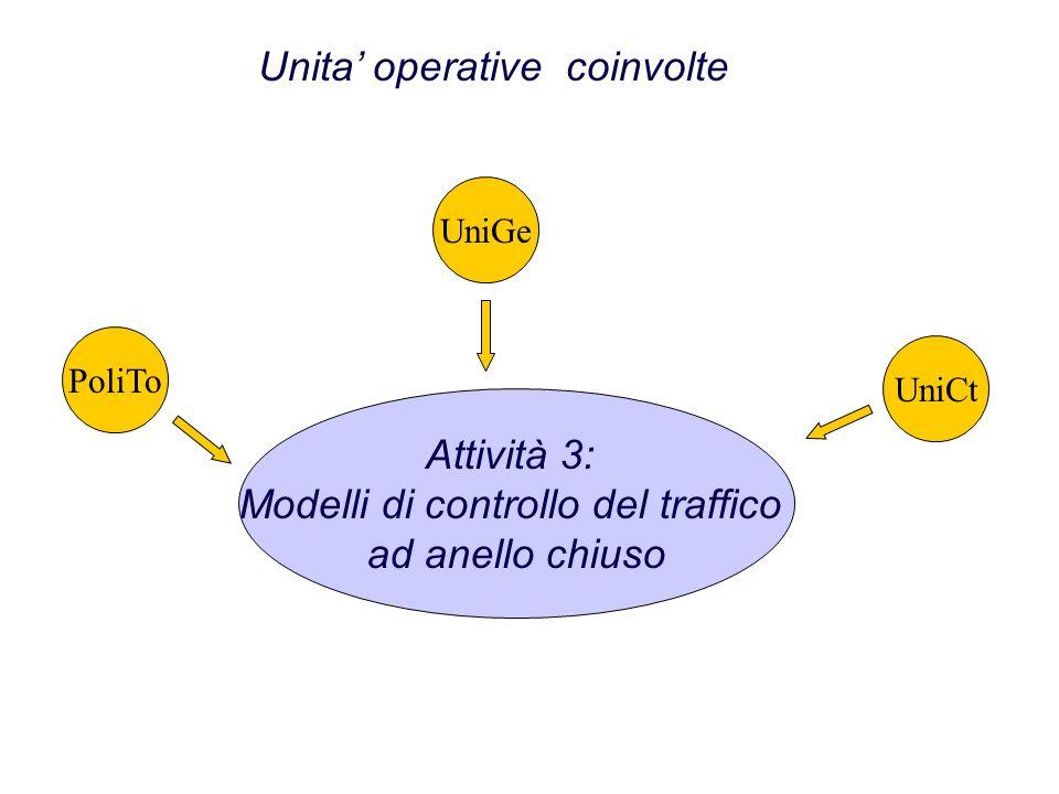 Attività 3: Modelli di controllo del traffico ad anello chiuso Unita operative coinvolte PoliToUniGeUniCt