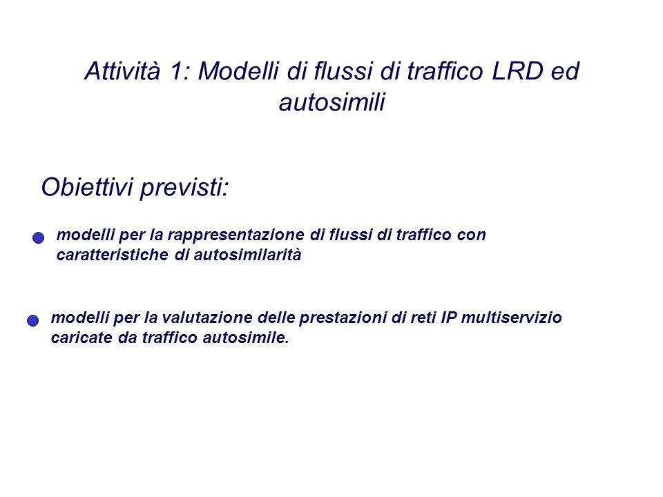 Attività 1: Modelli di flussi di traffico LRD ed autosimili modelli per la rappresentazione di flussi di traffico con caratteristiche di autosimilarità Obiettivi previsti: modelli per la valutazione delle prestazioni di reti IP multiservizio caricate da traffico autosimile.
