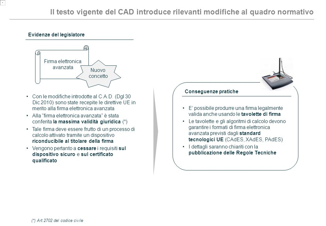 Il testo vigente del CAD introduce rilevanti modifiche al quadro normativo Firma elettronica avanzata Nuovo concetto Evidenze del legislatore Con le m