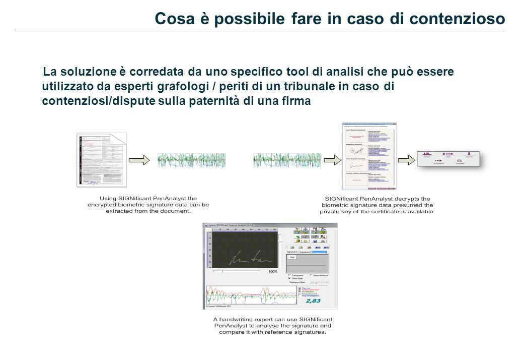 Cosa è possibile fare in caso di contenzioso La soluzione è corredata da uno specifico tool di analisi che può essere utilizzato da esperti grafologi