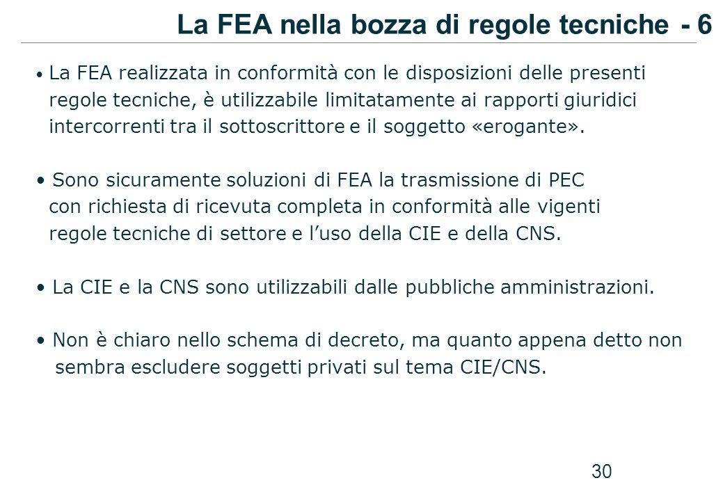 30 La FEA realizzata in conformità con le disposizioni delle presenti regole tecniche, è utilizzabile limitatamente ai rapporti giuridici intercorrent
