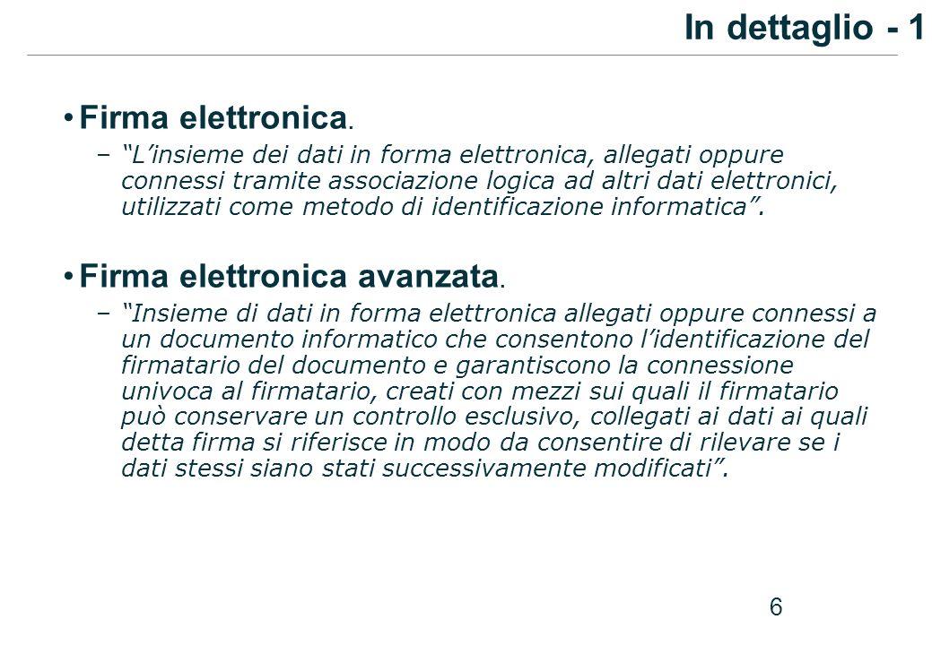 6 Firma elettronica. –Linsieme dei dati in forma elettronica, allegati oppure connessi tramite associazione logica ad altri dati elettronici, utilizza