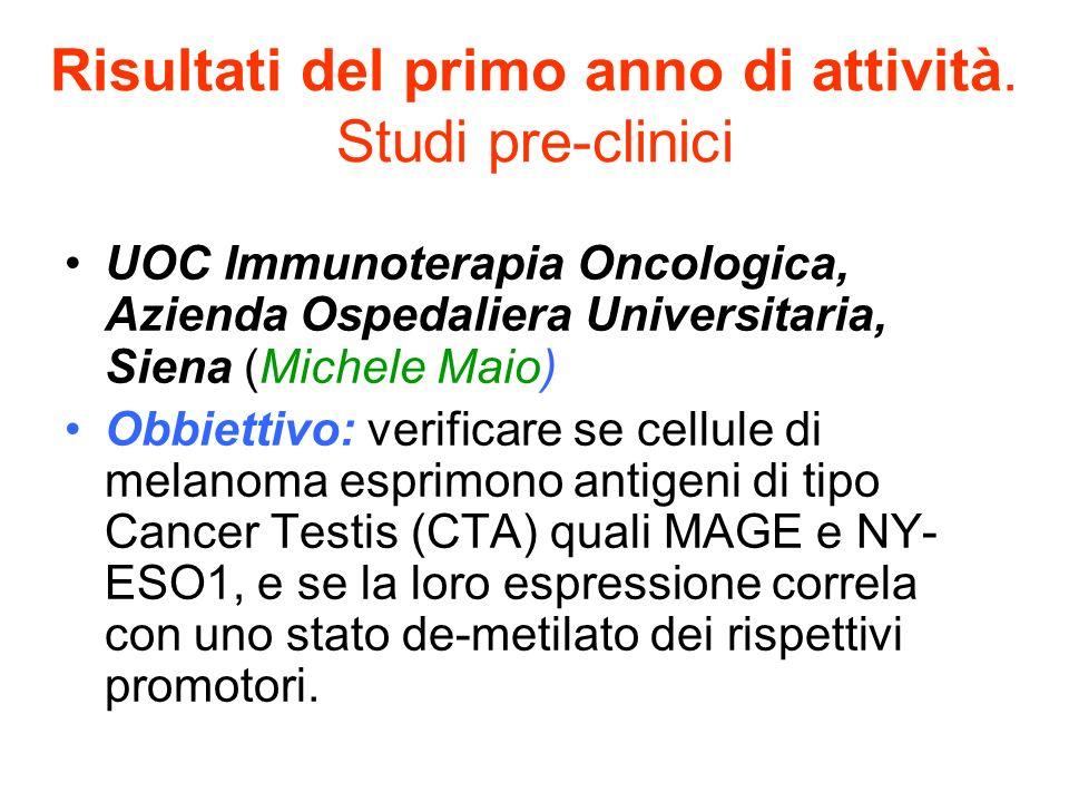 Risultati del primo anno di attività. Studi pre-clinici UOC Immunoterapia Oncologica, Azienda Ospedaliera Universitaria, Siena (Michele Maio) Obbietti