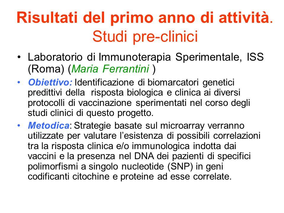 Risultati del primo anno di attività. Studi pre-clinici Laboratorio di Immunoterapia Sperimentale, ISS (Roma) (Maria Ferrantini ) Obiettivo: Identific