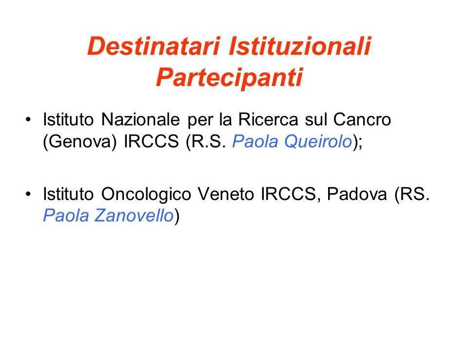 Destinatari Istituzionali Partecipanti Istituto Nazionale per la Ricerca sul Cancro (Genova) IRCCS (R.S. Paola Queirolo); Istituto Oncologico Veneto I