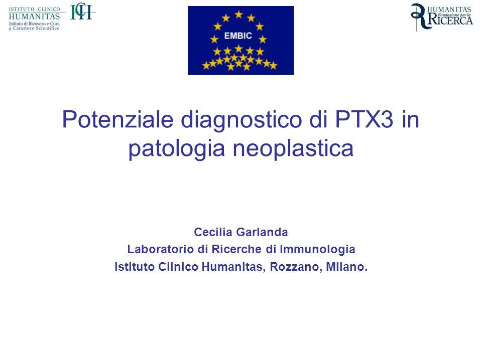 Potenziale diagnostico di PTX3 in patologia neoplastica Cecilia Garlanda Laboratorio di Ricerche di Immunologia Istituto Clinico Humanitas, Rozzano, M