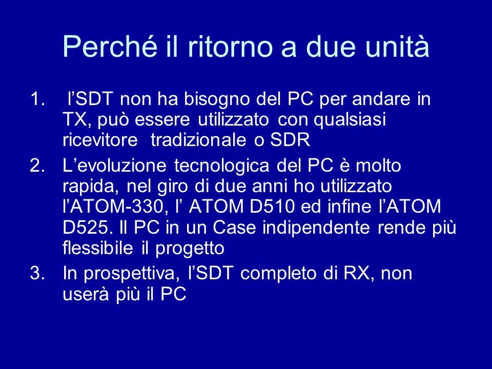 Perché il ritorno a due unità 1. lSDT non ha bisogno del PC per andare in TX, può essere utilizzato con qualsiasi ricevitore tradizionale o SDR 2.Levo