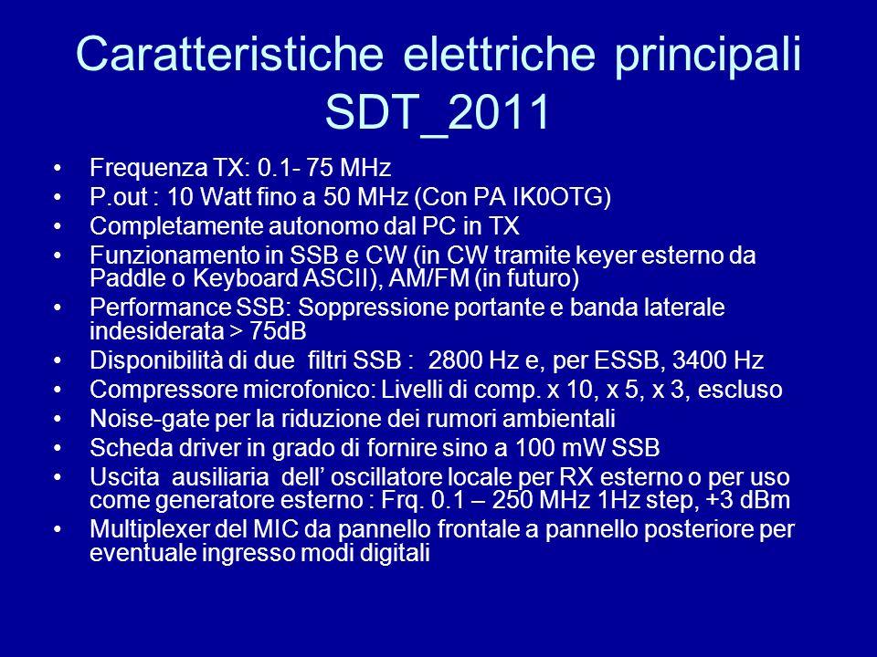 Caratteristiche elettriche principali SDT_2011 Frequenza TX: 0.1- 75 MHz P.out : 10 Watt fino a 50 MHz (Con PA IK0OTG) Completamente autonomo dal PC i
