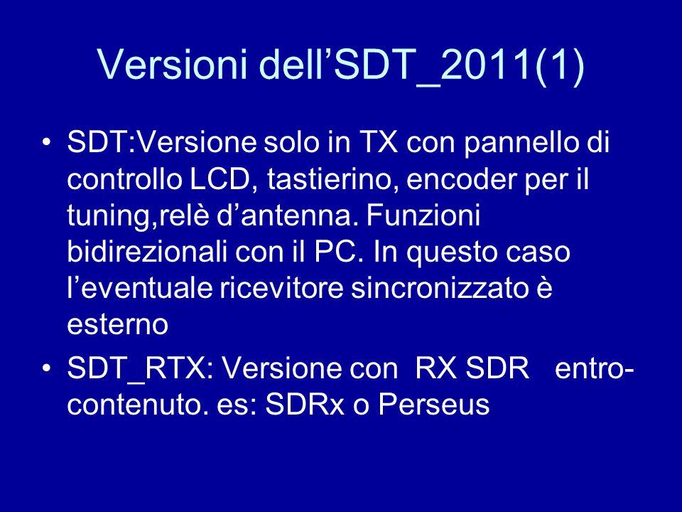 Versioni dellSDT_2011(1) SDT:Versione solo in TX con pannello di controllo LCD, tastierino, encoder per il tuning,relè dantenna. Funzioni bidirezional