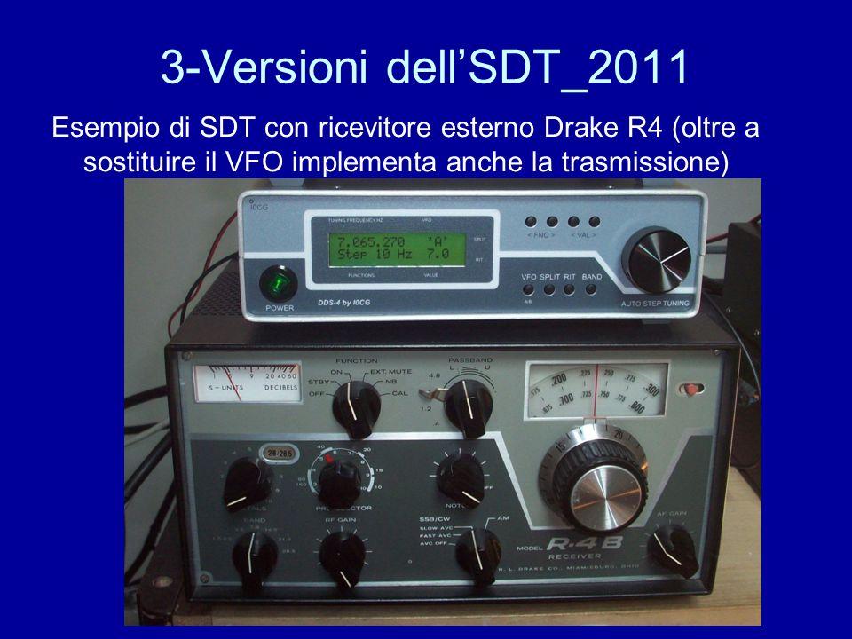 3-Versioni dellSDT_2011 Esempio di SDT con ricevitore esterno Drake R4 (oltre a sostituire il VFO implementa anche la trasmissione)