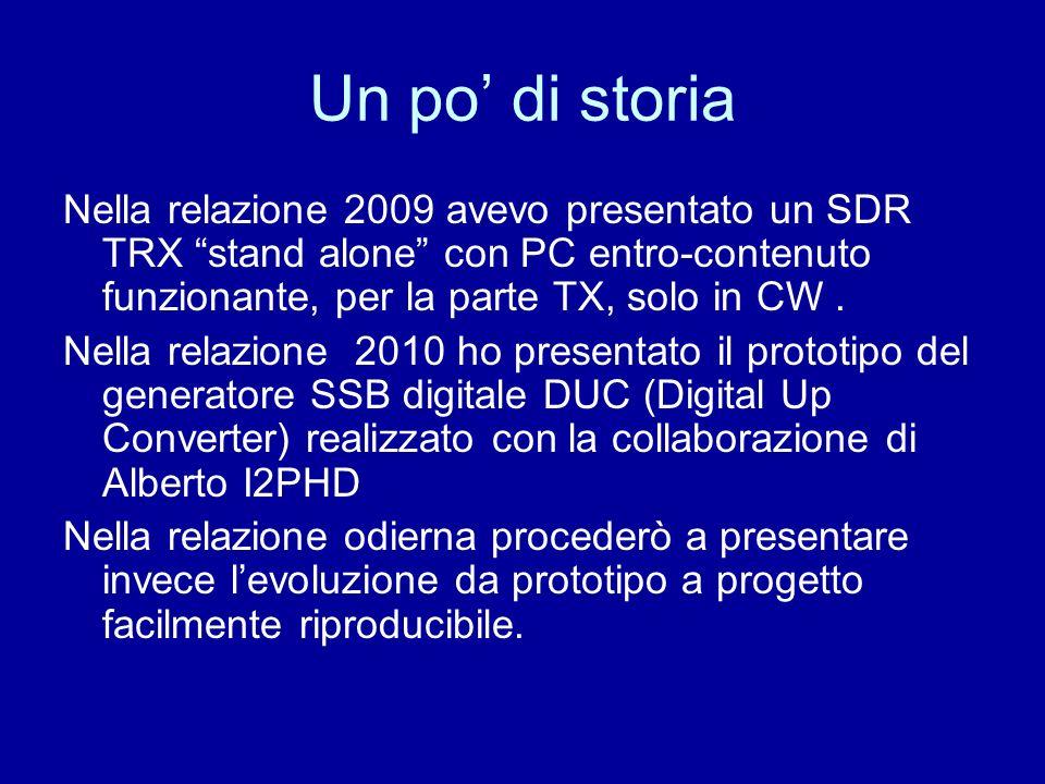Un po di storia Nella relazione 2009 avevo presentato un SDR TRX stand alone con PC entro-contenuto funzionante, per la parte TX, solo in CW. Nella re