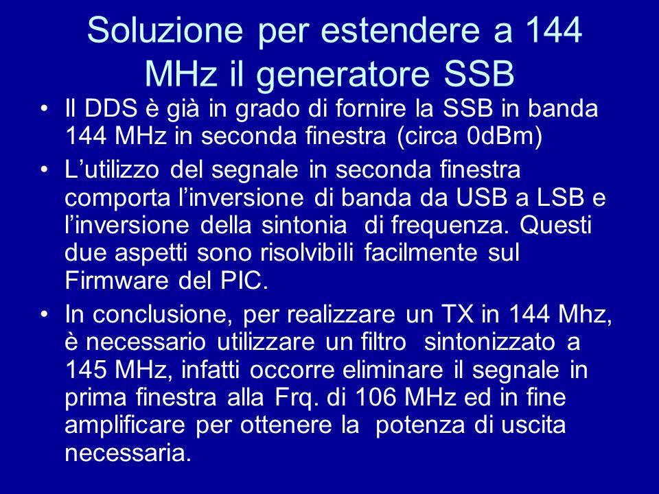 Soluzione per estendere a 144 MHz il generatore SSB Il DDS è già in grado di fornire la SSB in banda 144 MHz in seconda finestra (circa 0dBm) Lutilizz