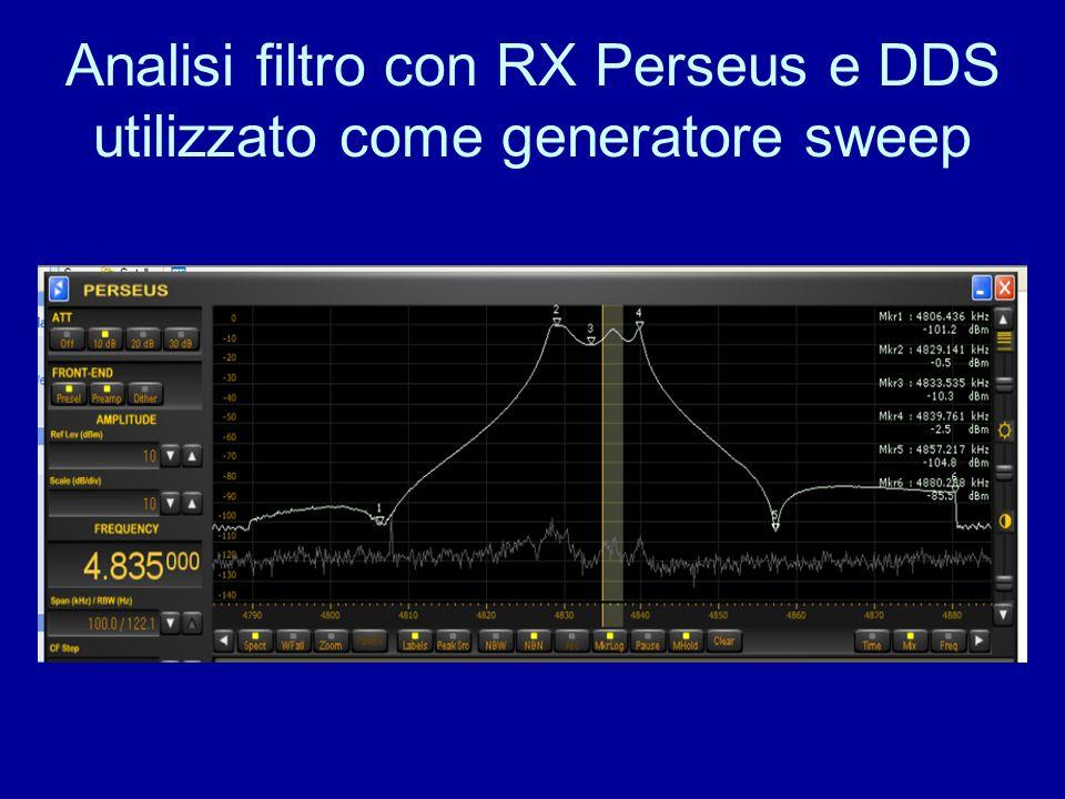 Analisi filtro con RX Perseus e DDS utilizzato come generatore sweep