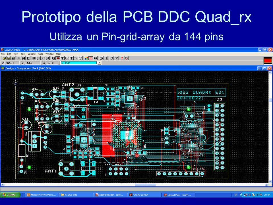 Prototipo della PCB DDC Quad_rx Utilizza un Pin-grid-array da 144 pins