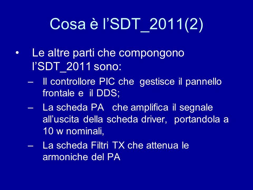 Cosa è lSDT_2011(2) Le altre parti che compongono lSDT_2011 sono: –Il controllore PIC che gestisce il pannello frontale e il DDS; –La scheda PA che am