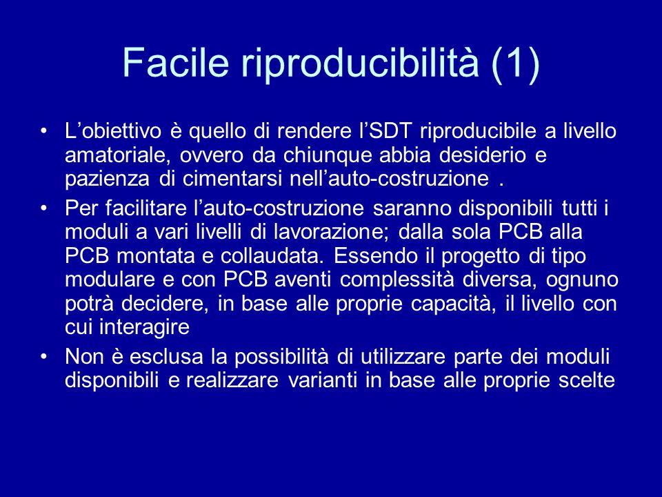 Facile riproducibilità (1) Lobiettivo è quello di rendere lSDT riproducibile a livello amatoriale, ovvero da chiunque abbia desiderio e pazienza di ci