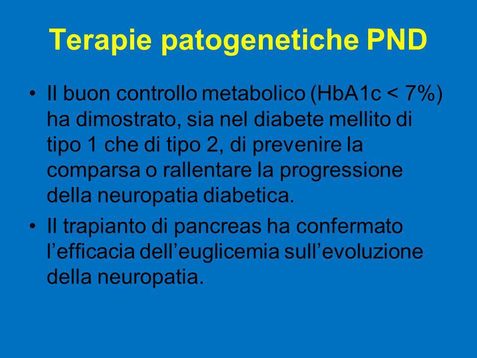 Terapie patogenetiche PND Il buon controllo metabolico (HbA1c < 7%) ha dimostrato, sia nel diabete mellito di tipo 1 che di tipo 2, di prevenire la co