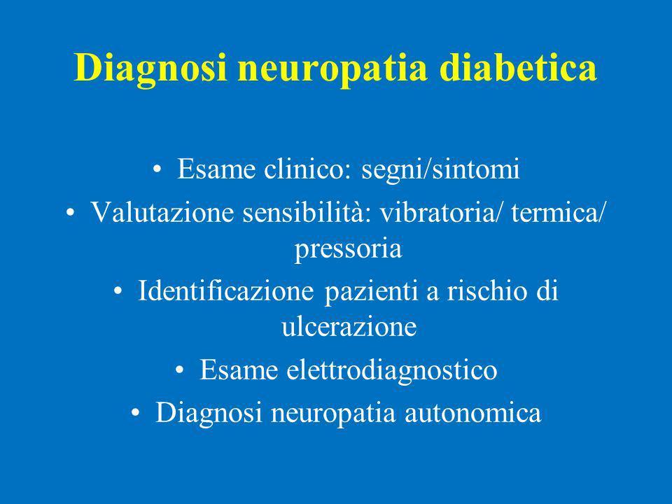 Diagnosi neuropatia diabetica Esame clinico: segni/sintomi Valutazione sensibilità: vibratoria/ termica/ pressoria Identificazione pazienti a rischio