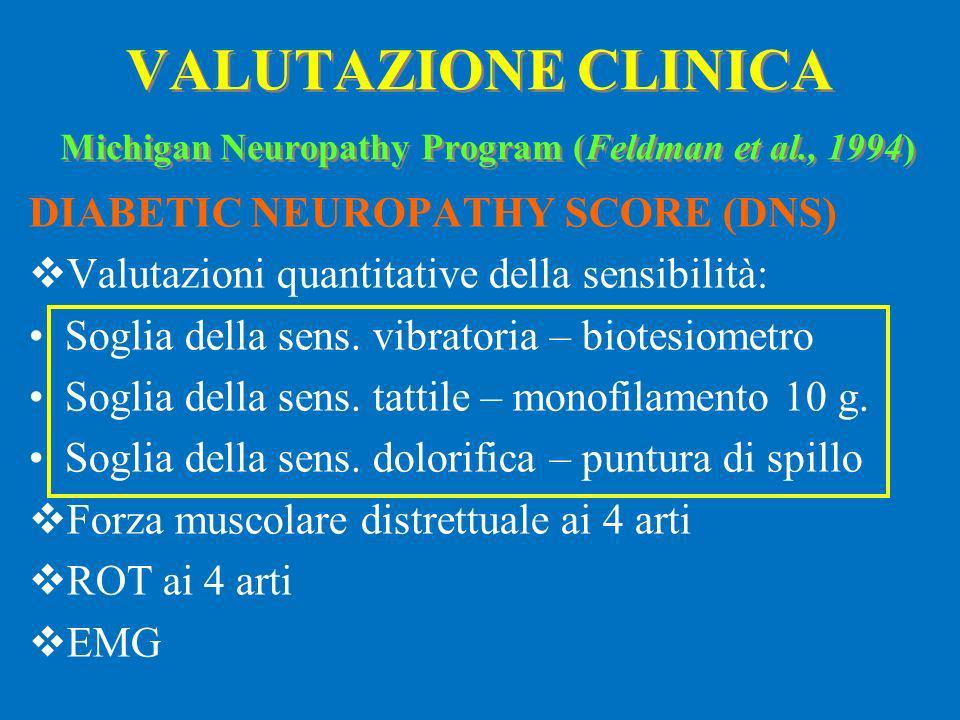 DIABETIC NEUROPATHY SCORE (DNS) Valutazioni quantitative della sensibilità: Soglia della sens. vibratoria – biotesiometro Soglia della sens. tattile –