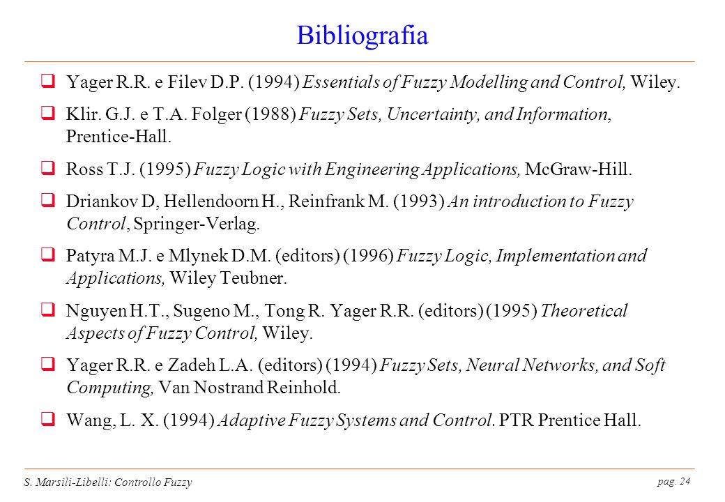 pag. 24 S. Marsili-Libelli: Controllo Fuzzy Bibliografia Yager R.R.