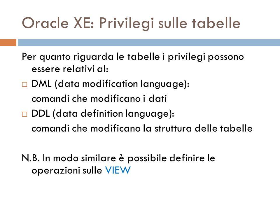 Oracle XE: Privilegi sulle tabelle Per quanto riguarda le tabelle i privilegi possono essere relativi al: DML (data modification language): comandi ch
