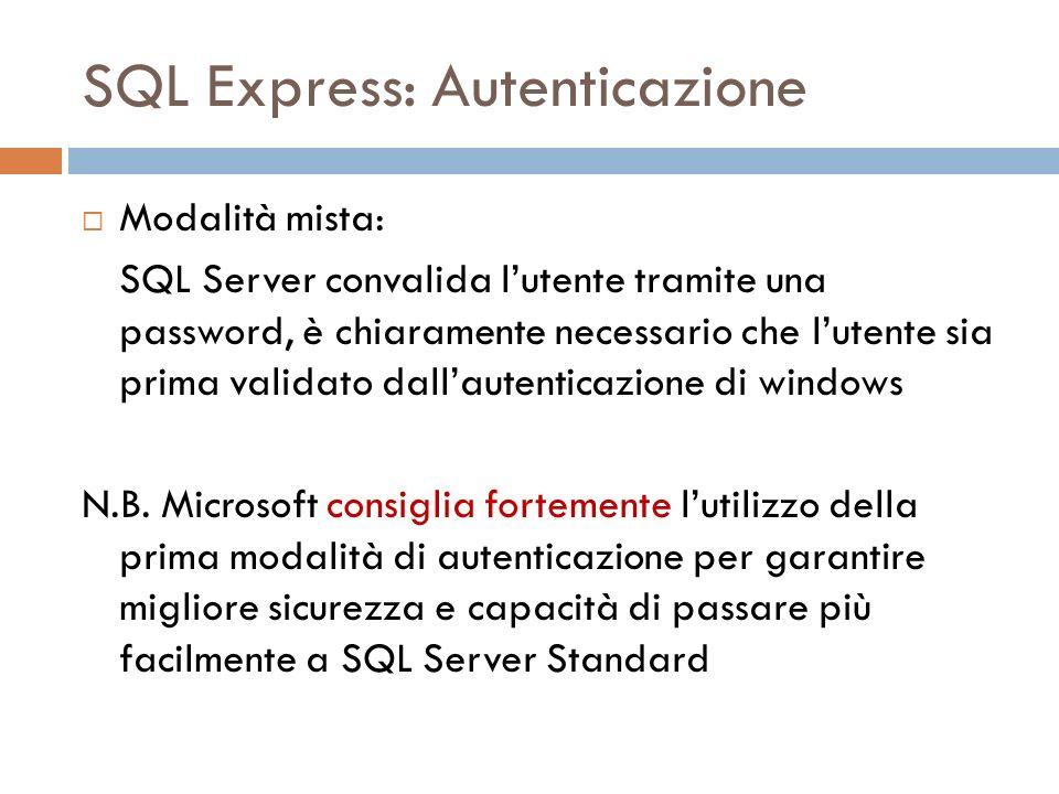 SQL Express: Autenticazione Modalità mista: SQL Server convalida lutente tramite una password, è chiaramente necessario che lutente sia prima validato dallautenticazione di windows N.B.