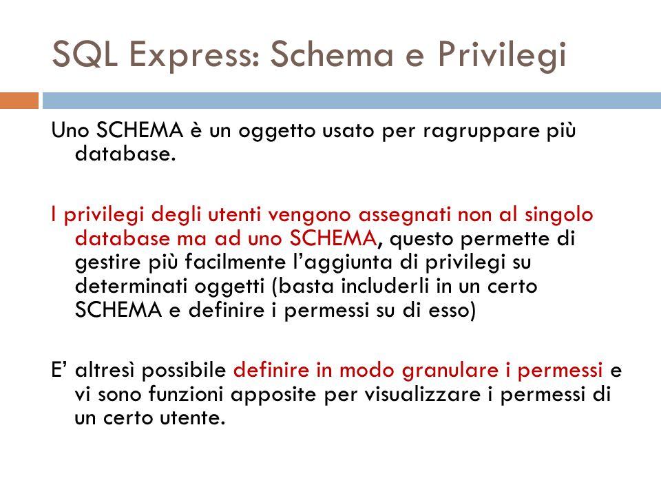 SQL Express: Schema e Privilegi Uno SCHEMA è un oggetto usato per ragruppare più database. I privilegi degli utenti vengono assegnati non al singolo d