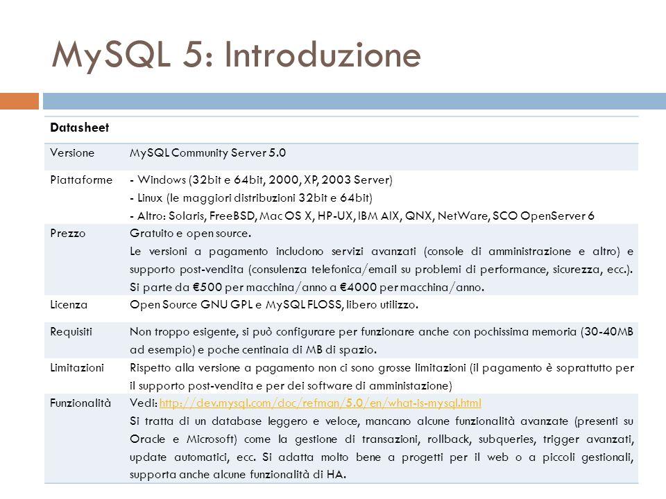 MySQL 5: Introduzione Datasheet VersioneMySQL Community Server 5.0 Piattaforme - Windows (32bit e 64bit, 2000, XP, 2003 Server) - Linux (le maggiori distribuzioni 32bit e 64bit) - Altro: Solaris, FreeBSD, Mac OS X, HP-UX, IBM AIX, QNX, NetWare, SCO OpenServer 6 Prezzo Gratuito e open source.