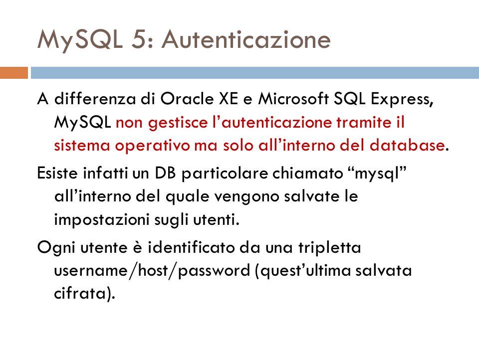 MySQL 5: Autenticazione A differenza di Oracle XE e Microsoft SQL Express, MySQL non gestisce lautenticazione tramite il sistema operativo ma solo allinterno del database.
