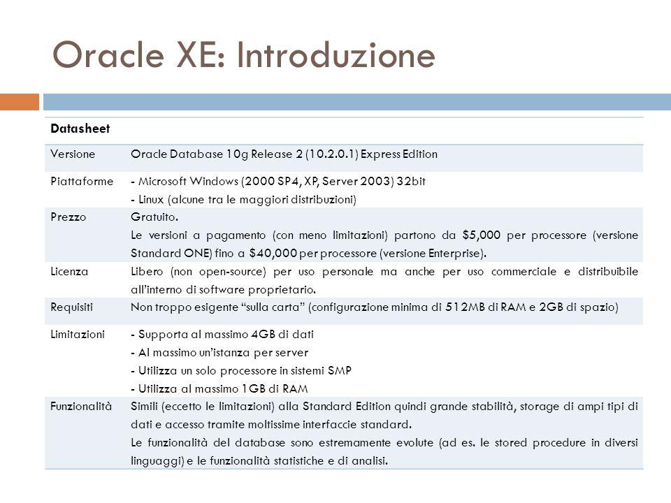 Oracle XE: Introduzione Datasheet VersioneOracle Database 10g Release 2 (10.2.0.1) Express Edition Piattaforme - Microsoft Windows (2000 SP4, XP, Serv