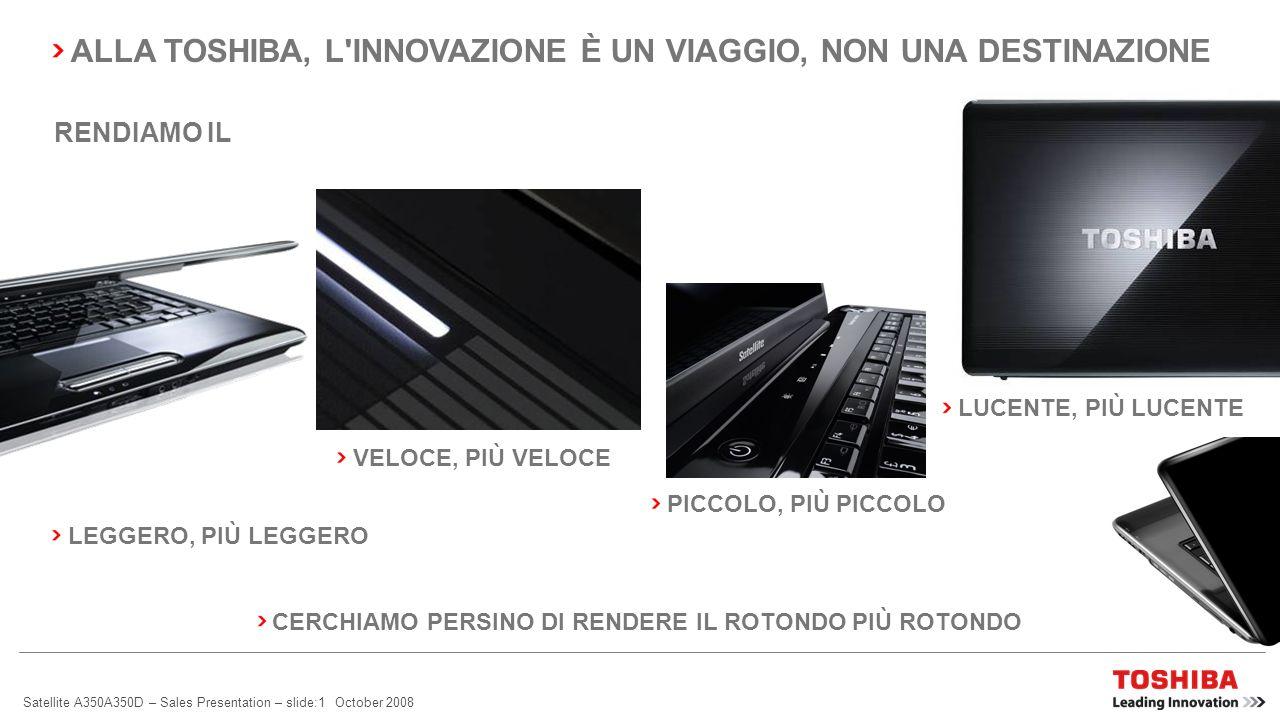 Satellite A350A350D – Sales Presentation – slide:1 October 2008 PICCOLO, PIÙ PICCOLO VELOCE, PIÙ VELOCE LEGGERO, PIÙ LEGGERO LUCENTE, PIÙ LUCENTE CERCHIAMO PERSINO DI RENDERE IL ROTONDO PIÙ ROTONDO RENDIAMO IL ALLA TOSHIBA, L INNOVAZIONE È UN VIAGGIO, NON UNA DESTINAZIONE